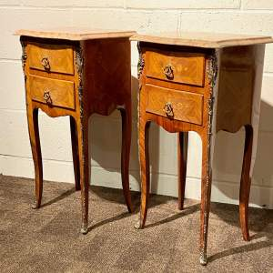 Pair of French Marble Top Two Drawer Bedside Tables