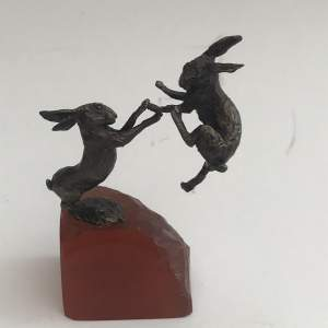 Miniature Bronze Study Pair Of Fighting Hares