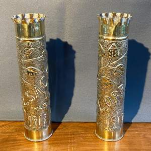 Pair of WWI Trench Art Brass Vases