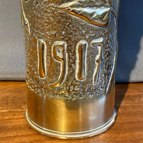 Pair of WWI Trench Art Brass Vases image-3