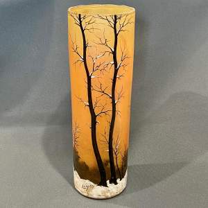 Large Orange Winter Scene Legras Glass Vase