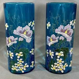 Pair of Nancy School Enamelled Glass Vases