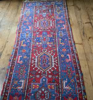 Stunning Old Hand Knotted Persian Runner Karaja Village Piece