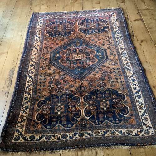 Old Hand Knotted Persian Rug Quashqui Superb Village Piece image-1