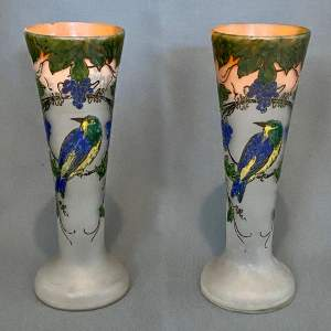 Pair of 20th Century Legras Bird Vases