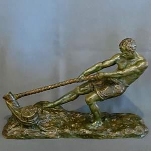 Early 20th Century Alexandre Outline La Force Bronze Figure