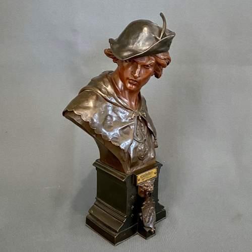 19th Century L'Escholier Bronze Bust by Emile-Louis Picault image-2