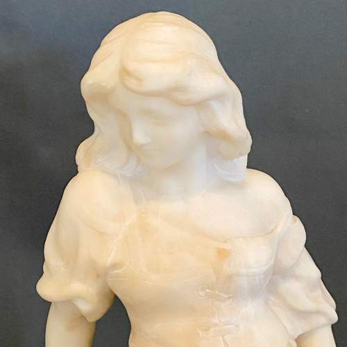 19h Century Gypsy Girl with Tambourine Marble Sculpture image-2