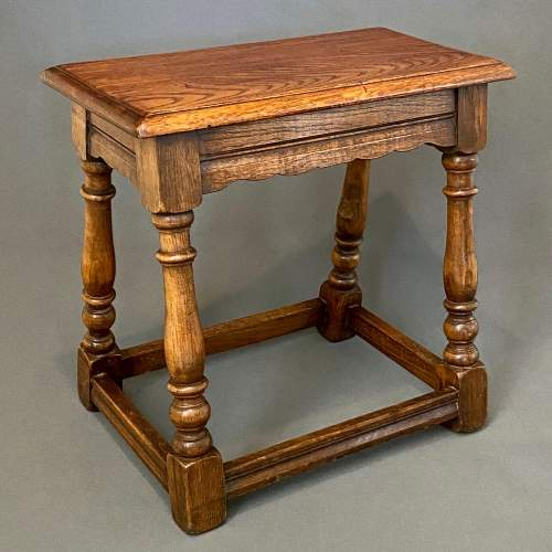 Mid 20th Century Solid Oak Joint Stool image-1