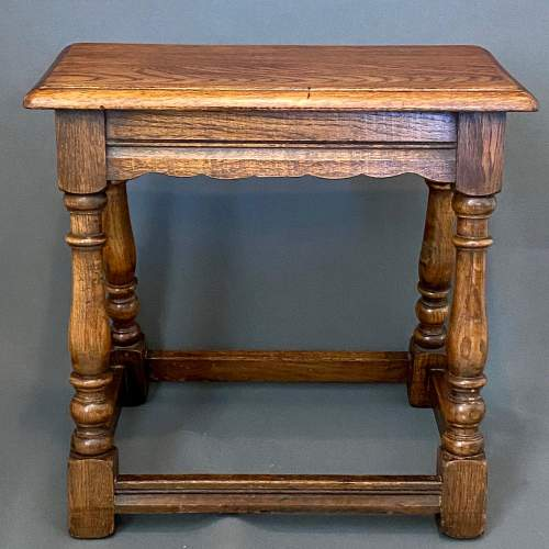Mid 20th Century Solid Oak Joint Stool image-2
