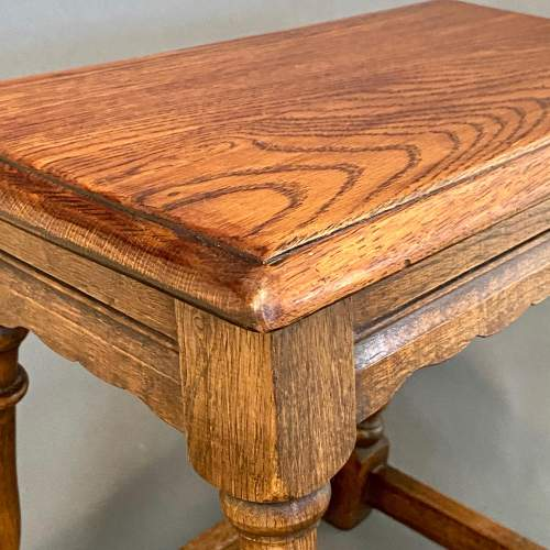 Mid 20th Century Solid Oak Joint Stool image-3