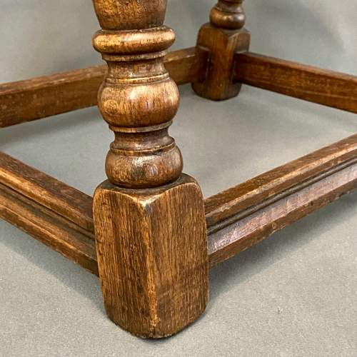 Mid 20th Century Solid Oak Joint Stool image-4