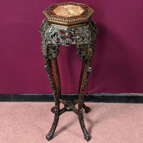 Chinese Carved Hardwood Plant Stand image-1