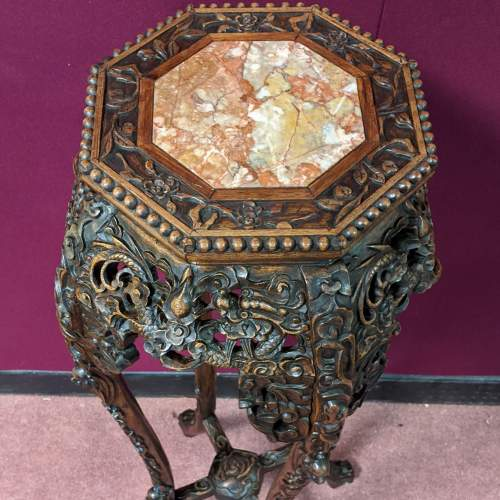 Chinese Carved Hardwood Plant Stand image-2