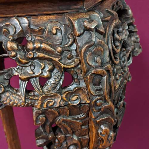 Chinese Carved Hardwood Plant Stand image-3