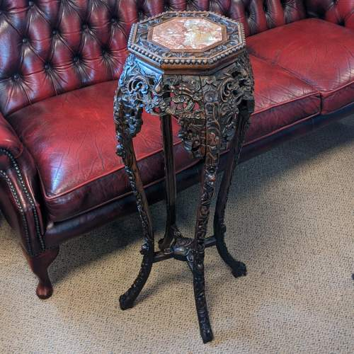 Chinese Carved Hardwood Plant Stand image-6