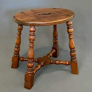 19th Century Fruitwood Oval Stool
