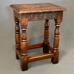 19th Century Carved Oak Joint Stool
