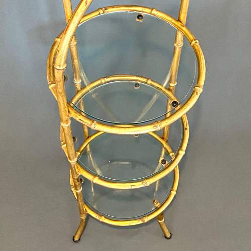 Gilt Metal Faux Bamboo and Glass Cake Stand image-2