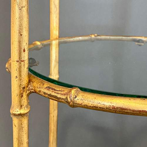 Gilt Metal Faux Bamboo and Glass Cake Stand image-3