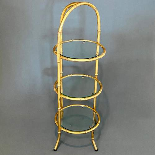 Gilt Metal Faux Bamboo and Glass Cake Stand image-1