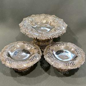 Set of Three Tiffany and Co Sterling Silver Bonbon Dishes