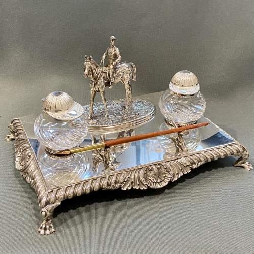 Late Victorian Silver Plate Equestrian Desk Set image-1