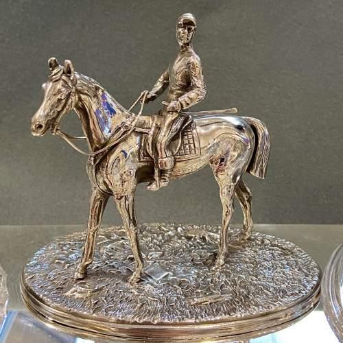 Late Victorian Silver Plate Equestrian Desk Set image-4