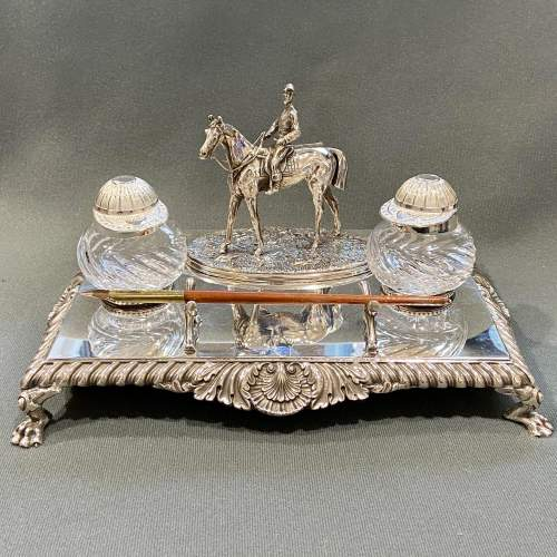 Late Victorian Silver Plate Equestrian Desk Set image-2