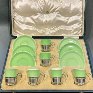 Mappin and Webb Silver Mounted Shelley Coffee Set