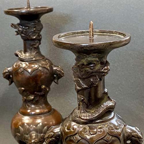 19th Century Pair Of Chinese Bronze Pricket Candlesticks image-2