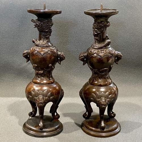 19th Century Pair Of Chinese Bronze Pricket Candlesticks image-6