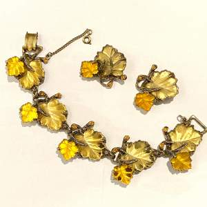 1940s 1950s Autumn Leaves Bracelet and Earclips