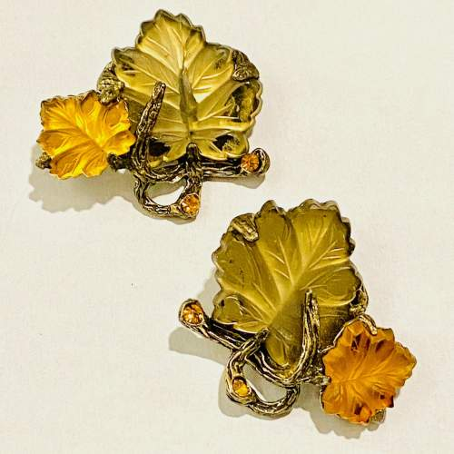 1940s 1950s Autumn Leaves Bracelet and Earclips image-4