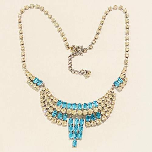 1950s Blue and Transparent Diamante Necklace and Earrings image-1