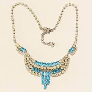 1950s Blue and Transparent Diamante Necklace and Earrings