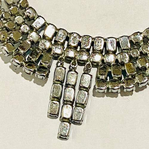1950s Blue and Transparent Diamante Necklace and Earrings image-3