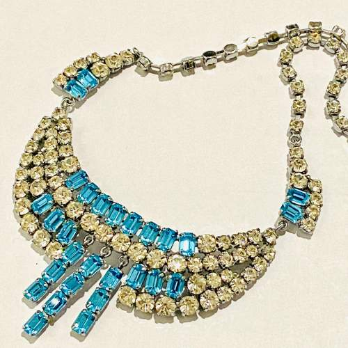 1950s Blue and Transparent Diamante Necklace and Earrings image-4