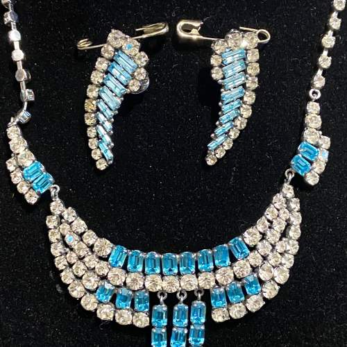 1950s Blue and Transparent Diamante Necklace and Earrings image-5