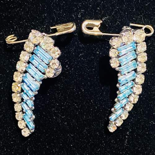 1950s Blue and Transparent Diamante Necklace and Earrings image-6