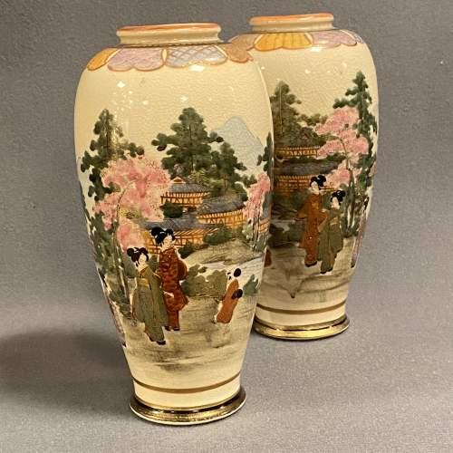 Pair of Japanese Satsuma Vases image-1