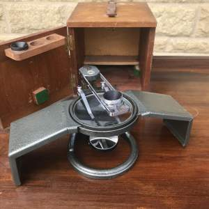 C. Baker London 1950s Dissecting Microscope and Box