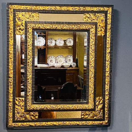 19th Century Flemish Ripple Mould and Gilt Metal Mounted Wall Mirror image-1