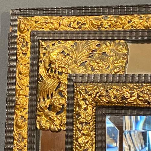 19th Century Flemish Ripple Mould and Gilt Metal Mounted Wall Mirror image-4