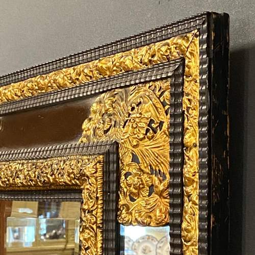 19th Century Flemish Ripple Mould and Gilt Metal Mounted Wall Mirror image-3