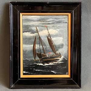 19th Century Oil on Slate Painting of Sailing Smack