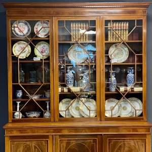 Late 19th Century Sheraton Design Triple Door Bookcase