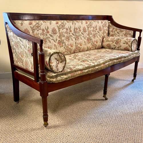 Regency Period Mahogany Framed Upholstered Settee image-1