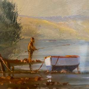 Estuary with Fishermen Oil on Board