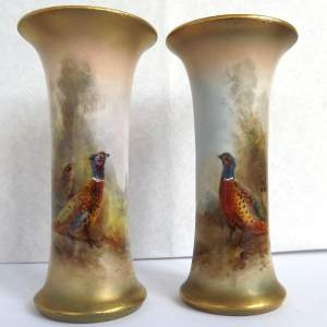 True Pair of Royal Worcester Dated 1918 James Stinton Trumpet Vases